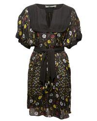 Proenza Schouler | Black Long-sleeve Printed Dress W/ Pleated Skirt | Lyst