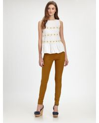 RED Valentino | Brown Stretch Twill Pants | Lyst