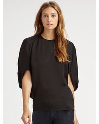 Stella McCartney - Black Satin Drape Top - Lyst