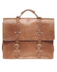 ASOS   Brown Leather Old Boy Satchel for Men   Lyst