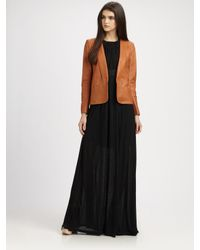 Theory | Brown Frima Leather Blazer | Lyst