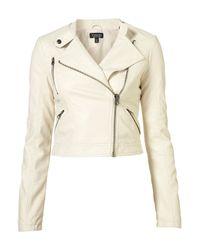 TOPSHOP | White Clean Pu Biker Jacket | Lyst