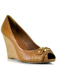 Tory Burch - Brown Carnell High - Camel Leather Peep Toe Wedge - Lyst