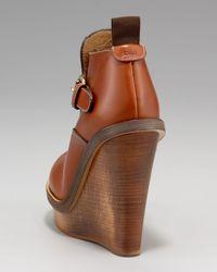 Chloé - Orange Wooden-wedge Buckled Bootie - Lyst
