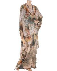 Halston Multicolor Printed Silk-chiffon Maxi Kaftan