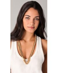 Tuleste Metallic Snake Chain Pom Pom Necklace