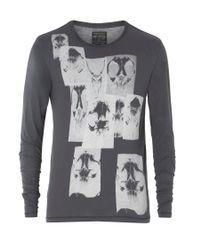 AllSaints | Gray Skull L/s Crew for Men | Lyst
