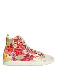Alouette Multicolor Floral Print Satin Sneakers