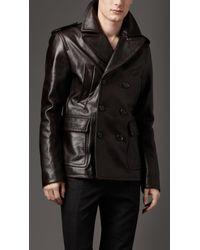 Burberry | Black Dark Leather Pea Coat for Men | Lyst