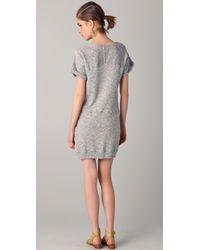 C&C California - Gray Short Sleeve Terry Sweatshirt Dress - Lyst