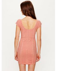 Free People - Pink Stretch Eyelet Bodycon - Lyst