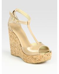 Jimmy Choo | Natural Patent Leather T-strap Wedge Sandals | Lyst