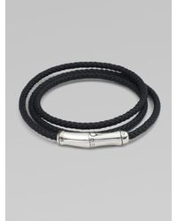 John Hardy | Black Triple-wrap Leather Bracelet for Men | Lyst