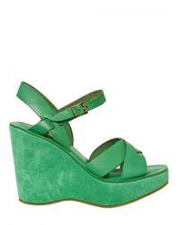 Kork-Ease - Green 110mm Bette Leather Sandal Wedges - Lyst