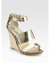 Kors by Michael Kors | Metallic Leather Espadrille Wedge Sandals | Lyst