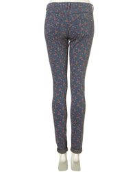 TOPSHOP - Blue Ditsy Floral Print Leigh Jeans - Lyst