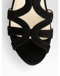 Prada - Black Suede Multistrap Wedge Sandals - Lyst
