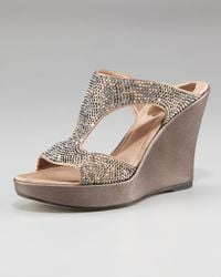 Rene Caovilla | Metallic Bejeweled Wedge Sandal | Lyst