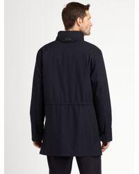 Armani - Blue Microfiber Car Coat for Men - Lyst