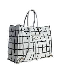 Balenciaga - White and Black Calfskin Papier Grid Tote - Lyst