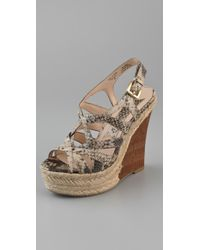 ac6b85c04c6 Lyst - Boutique 9 Flower Snake Print Wedge Sandals in Natural