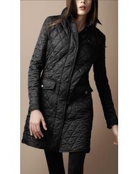 Burberry Brit - Black Diamond Quilted Trench Coat - Lyst