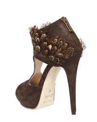 Chiara Ferragni - Brown 140mm Peacock Feather & Suede Sandals - Lyst
