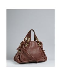 Chloé | Brown Ebony Calfskin Paraty Medium Top Handle Bag | Lyst
