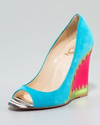 Christian Louboutin | Blue Miramar Suede & Patent Wedge Pump | Lyst