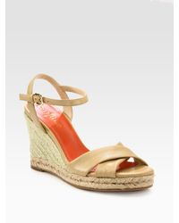 Cole Haan | Natural Air Camila Leather Espadrille Wedge Sandals | Lyst