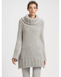 Donna Karan - Gray Hand-knit Wool Tunic Sweater - Lyst