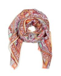 Etro | Blue Printed Silk and Linenblend Scarf | Lyst