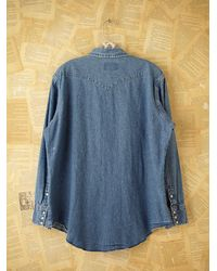 Free People - Blue Vintage Wrangler Denim Shirt - Lyst
