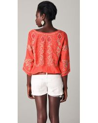 Free People - Pink Mayfair Sheer Embroidered Top - Lyst