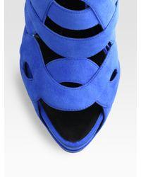 Giuseppe Zanotti Blue Suede Colorblock Platform Sandals