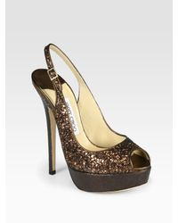 Jimmy Choo | Vita Glitter-coated Metallic Leather Slingback Pumps | Lyst