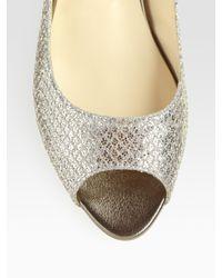 Jimmy Choo - Beck Glitter-coated Metallic Leather Peep Toe Ballet Flats - Lyst