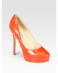 Jimmy Choo | Orange Cosmic Croc-print Leather Platform Pumps | Lyst