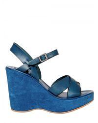 Kork-Ease | Blue 110mm Bette Leather Sandal Wedges | Lyst