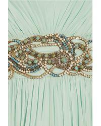 Marchesa - Green Crystal-embellished Silk-chiffon Gown - Lyst
