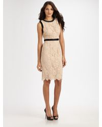 MILLY - Pink Chantilly Lace Marcella Bow Sheath Dress - Lyst