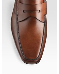 Prada | Brown Leather Penny Loafers for Men | Lyst