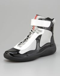 Prada | Gray Patent Leather Hi-Top Sneaker, Black/White | Lyst