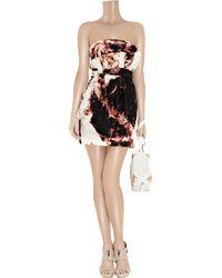 Sass & Bide - Brown Afraid Of The Dark Printed Silk Strapless Dress - Lyst