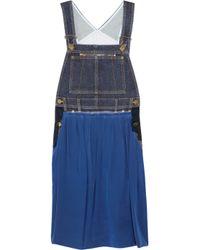 Sonia by Sonia Rykiel | Blue Denim and Silk Dungaree Dress | Lyst