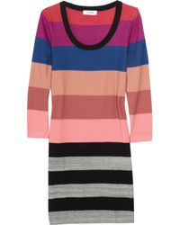 Sonia by Sonia Rykiel Pink Striped Cotton Sweater Dress