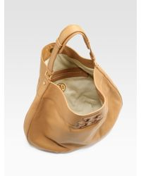 Tory Burch | Brown Logo-Stacked T Hobo Bag | Lyst