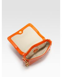 Tory Burch - Orange Robinson Mini Patent Leather Shoulder Bag - Lyst