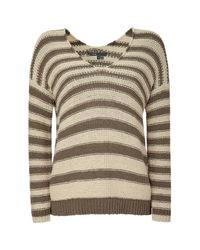 VINCE | Brown Buttermilk/taupe Striped 2 V-neck Sweater | Lyst