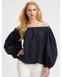 Saint Laurent | White Off-the-shoulder Cotton Blouse | Lyst